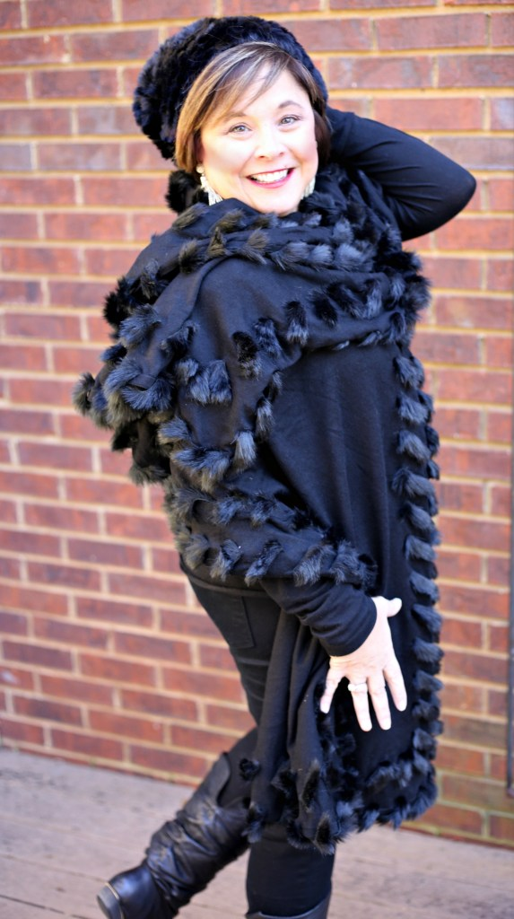 black shawl in faux fur