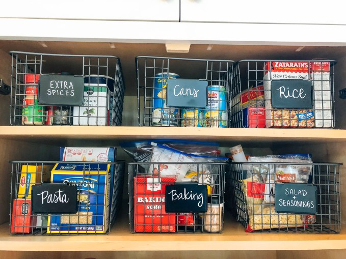 Organizing My Kitchen- Using Wire Baskets And Labels