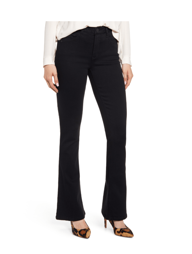 Pear shaped bodies need dark denim or black for most flattering style