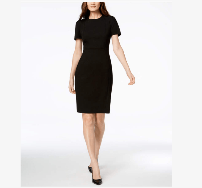 Sheath style dresses are flattering on carrot, straight, and curvy body types