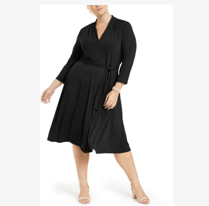 This v neck wrap dress would be a great choice for pear shaped plus size women
