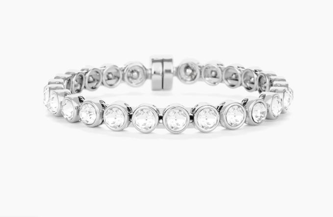 Chico's Silver Tone Sparkle Bracelet to add glamour has a magnetic catch