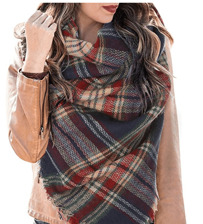 Large bulky blanket scarves can be cut in half (on the diagonal) to make them better fitted to your body type