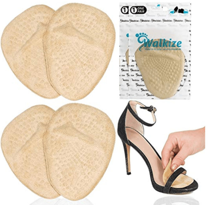 These inserts will help when you wear heels.  The metatarsal pads are inserts that help cushion the bottom of your feet. They will also keep your feet from slipping forward.