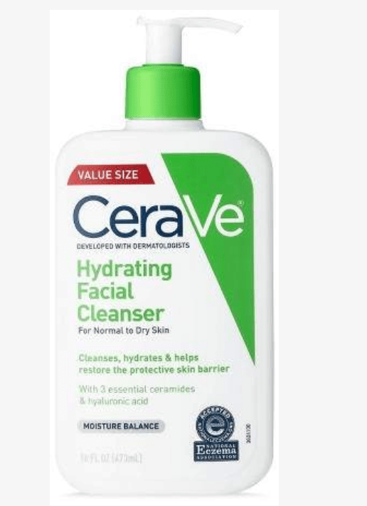 Hydrating Facial Cleanser for daily cleaning. I like the pump dispenser and keep this in the shower for daily facial wash.