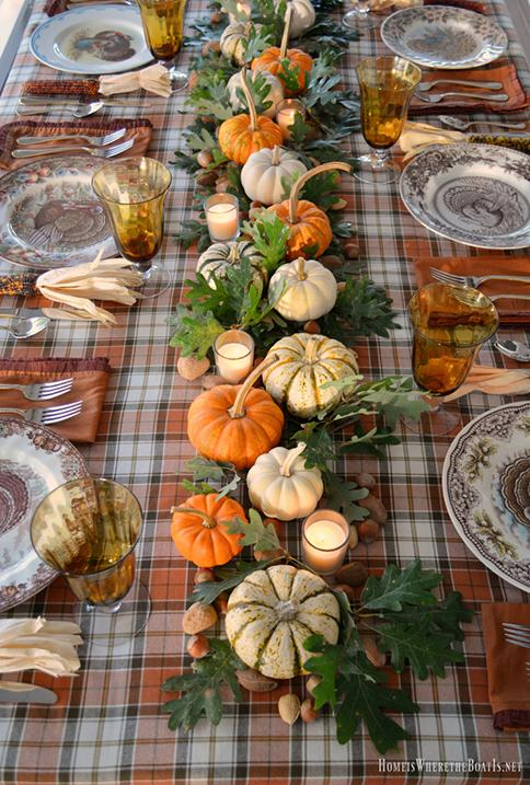How To Create A Picture Perfect Thanksgiving Table-add a colorful tablecloth to protect your table and add interest