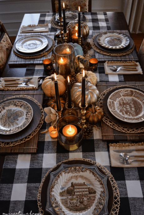 How To Create A Picture Perfect Thanksgiving Table- add interest with placemats, chargers in wooden textures