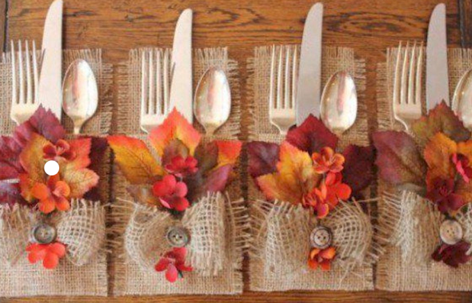 Burlap silverware holders that can be used each year.