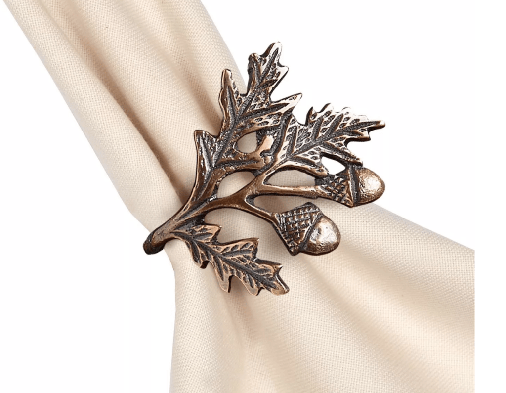 Napkin rings with fall decor from Target