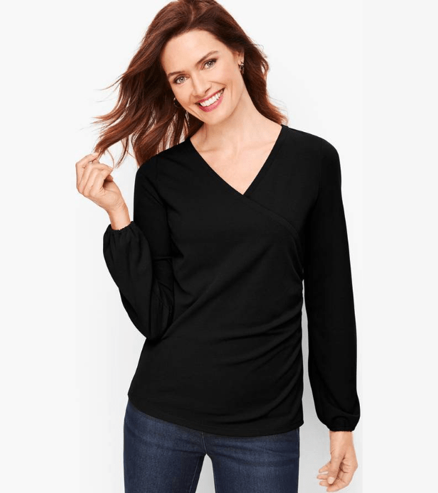 For a dressier option, try this Faux-Wrap Crepe Top.  Add FABULOUS accessories and wear with your ponte knit pants.