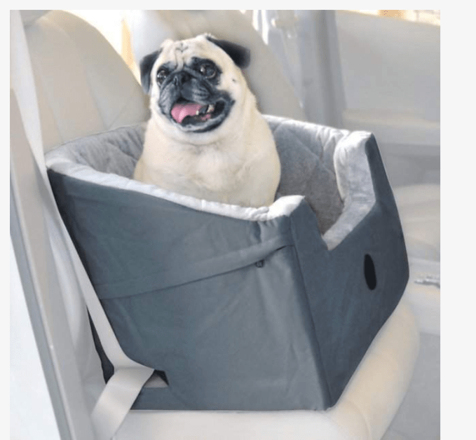 The K & H Pet Bucket Booster Seat has made traveling so much easier.  I have 2 of the large ones. Each dog has their own space and can easily lay down and sleep during the trip. I think that having the bucket boosters elevated has helped with car sickness.  If not, the seat has an easy to remove seat bottom for cleanups.