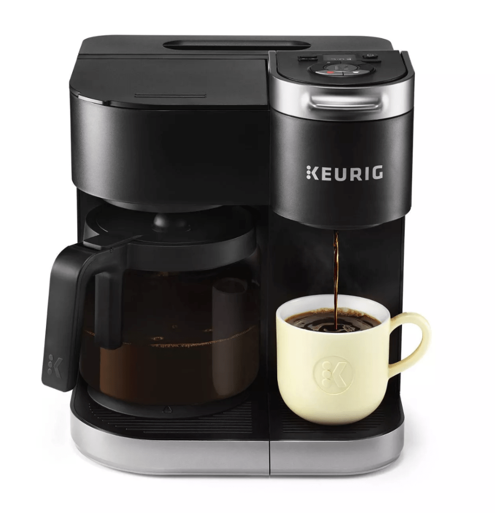 Sometimes you need just a cup and others a whole pot.  This Duo Keurig K-Single Serve And Coffee Carafe Maker are two coffee makers in one.  Watch for this one to be a Black Friday Special