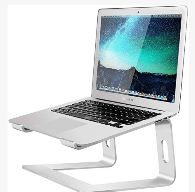This laptop stand elevates your laptop by 6'' to a perfect eye level and prevents you from hunching over your screen, preventing back and neck pain.