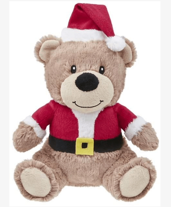 "The girlies love ""Santa Bear"". Frisco Christmas Bear Built-in squeaker brings on the loud factor dogs go wild for at playtime."