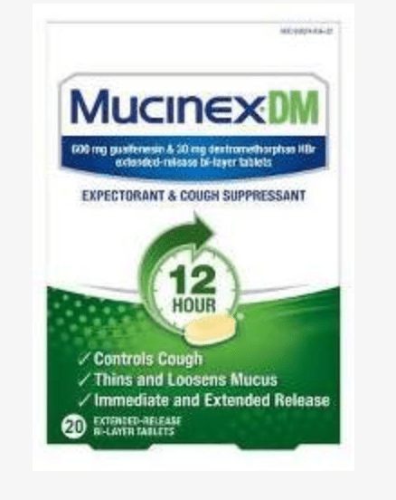Okay, now my nose is runny but it is out of control and all that drainage is in my chest and I am coughing up nasty stuff. Mucinex DM is your friend. Mucinex helps thin out the mucus with the drug Guaifenesin.  The DM part of Mucinex is for the cough and uses the drug Dextromethorphan.