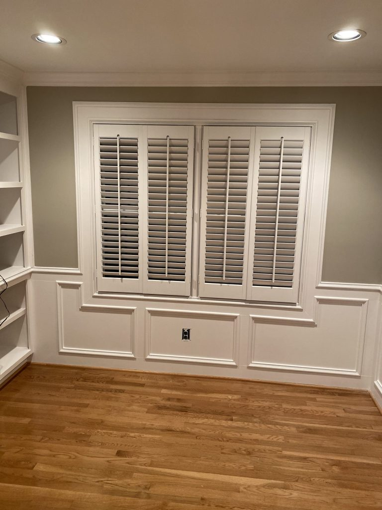Home Office Renovation Project- Dark stained wooden blinds were painted, Decorator White