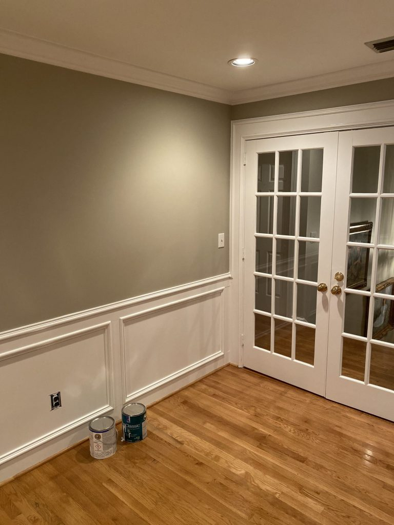Home Office Renovation Project-String cloth was removed and the wall was painted Amazing Gray and trim and molding painter, Decorator White
