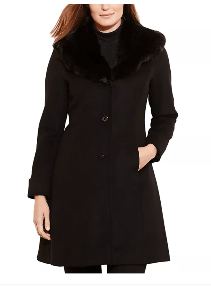 For Petites- The Lauren Ralph Lauren Faux-Fur Trim Wool Coat is an exceptional event coat for your outerwear wardrobe.