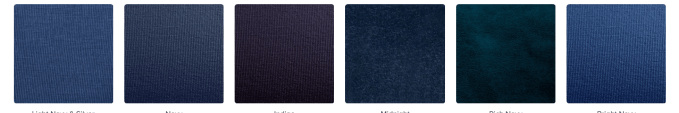 "Some many shades of blue that can be considered ""navy"""