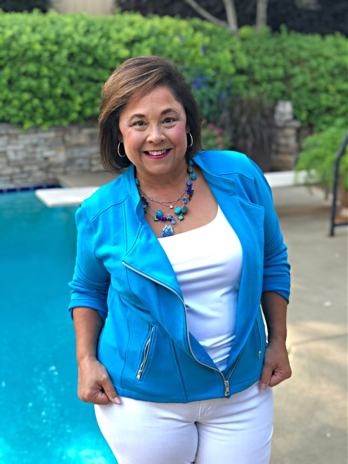 For Summer Jacket Think Color! This is the Chloe Jacket from Kettlewell Colours in Blue Jewel