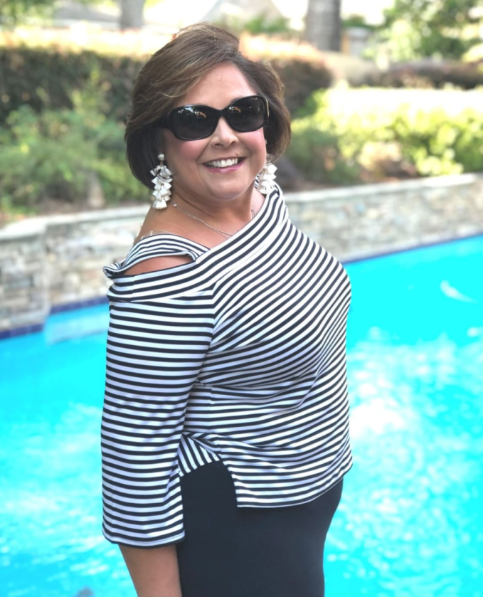 Black and White stripes are classic look. I shopped my closet for this cold shoulder top from Chicos