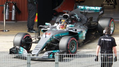 Lewis Hamilton, Mercedes-Benz F1 W08, leaves pit garage