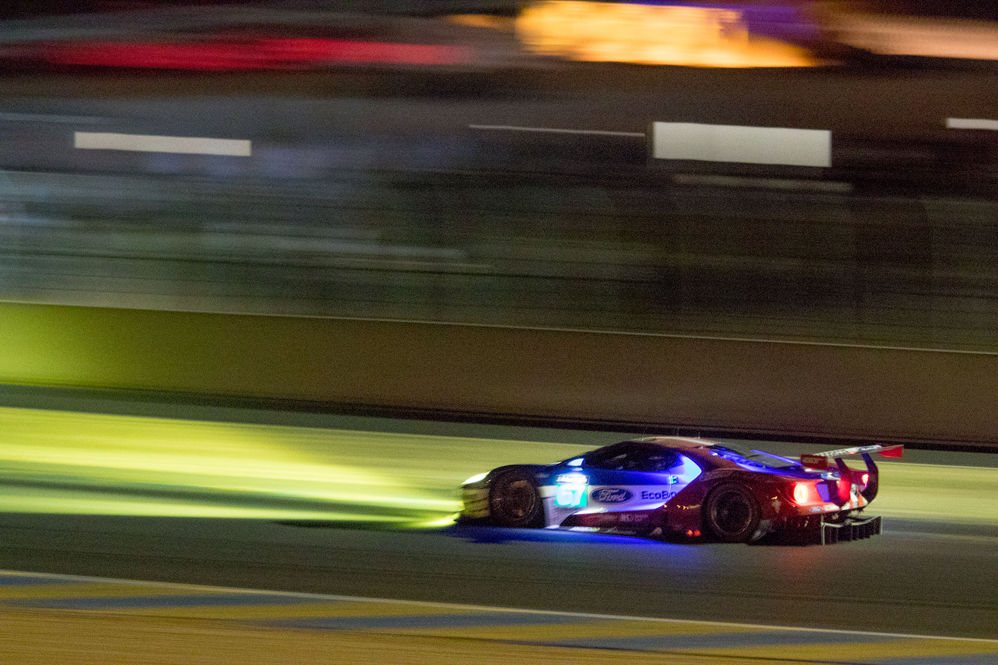 24 Hours of Le Mans. Ford Chip Ganassi UK Ford GT GTE PRO at night on the Dunlop Curve