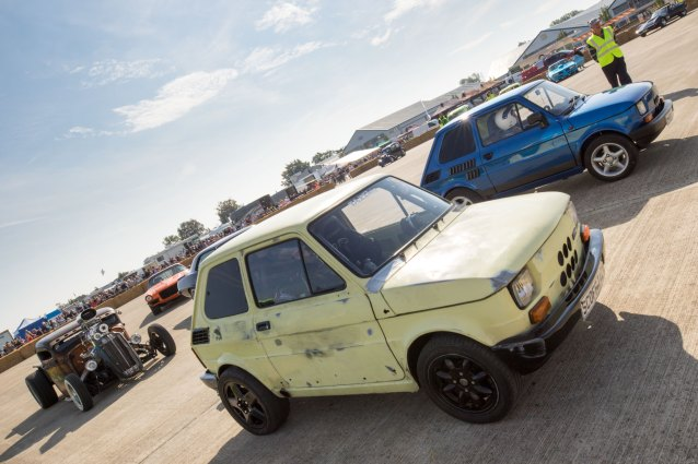 Fiat 126, Hot rod and dragster racing, Sywell Classic Pistons and Props show Sept 23 - 24 2017, Sywell Aerodrome, Northamptonshire, England