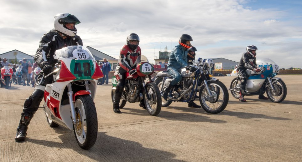 Motorbikes in the paddock. Sywell Classic