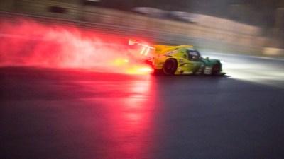 Ligier JSP3 LMP3 car in the wet at night, Circuito Estoril