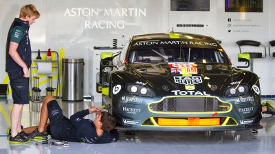 Aston Martin Vantage being prepared