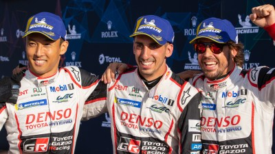 Alonso, Buemi and Nakajima celebrate victory with Toyota Gazoo Racing at the 6 Hours of Silverstone, World Endurance Championship Superseason 2018