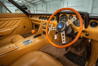Stunning design of the leather interior of a 1971 Maserati Indy America 4700