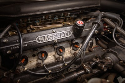View of the V8 engine in a 1971 Maserati Indy America 4700