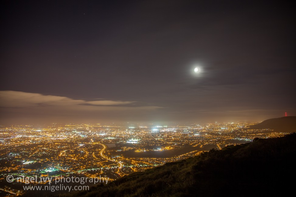 The weather was great tonight, so I spontaneously went for a big hike tonight to the top of Cave Hill. Here's a photo I took while I was up there of central Belfast.
