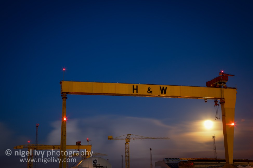 I hope everyone has had a fun New Years Day! :) Here's a shot of the icon ic Samson and Goliath cranes, owned by Harland & Wolff (who are the company that built the Titanic). I was hoping to get a good shot of the moon, but it was pretty overcast tonight.