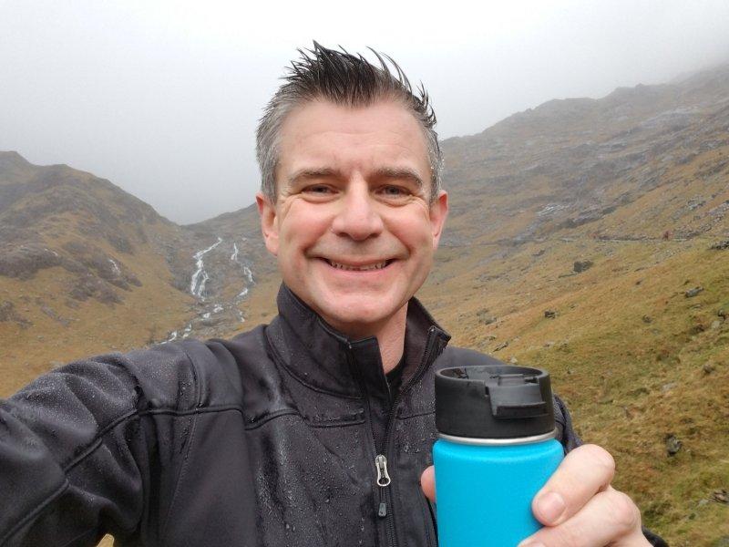 Nigel Yates climbing Mount Snowdon, Wales