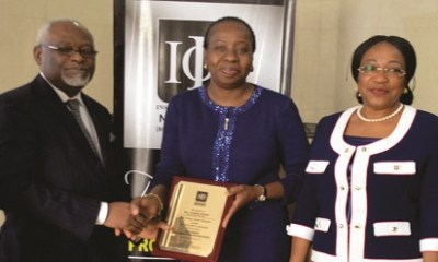(L-r): Samuel Yemi Akeju, president/chairman of Council, IoD Nigeria; Ms. Funke Opeke, CEO of MainOne and Ms. Bennedikter Molokwu, chairman, IoD Fellows Committee, at the 2017 Institute of Director Fellow  Luncheon which held recently.