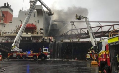 Bulker Catches Fire at Port Kembla