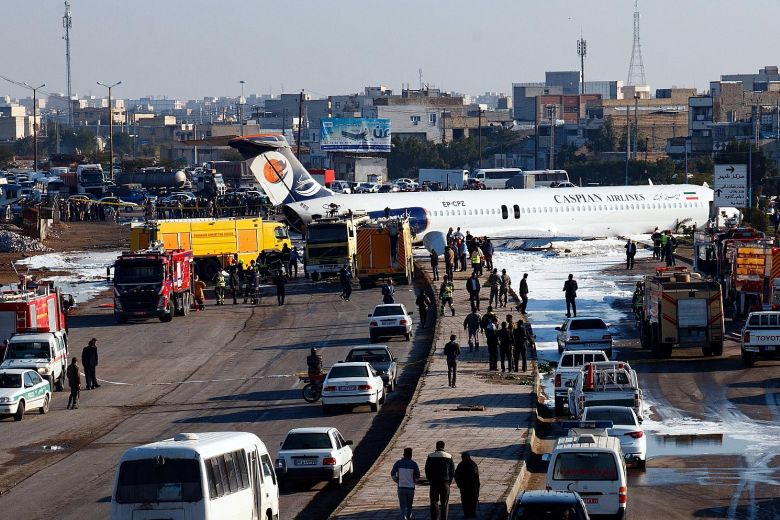135 passengers escape death in Iran as plane skids onto a highway
