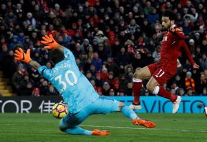 Liverpool Star, Mo Salah Apologizes to Watford Goalkeeper After Scoring 4 Goals Past Him (Photos)