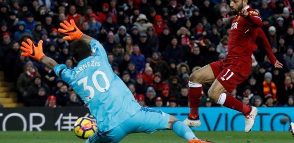 Liverpool Star, Mo Salah Apologizes to Watford Goalkeeper After Scoring 4 Goals Past Him (Photos)