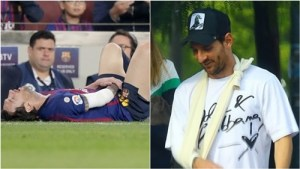 Messi Spotted With A Sling In First Public Appearance After Elbow Fracture (Photos)