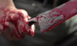 Knife with blood, bloody knife