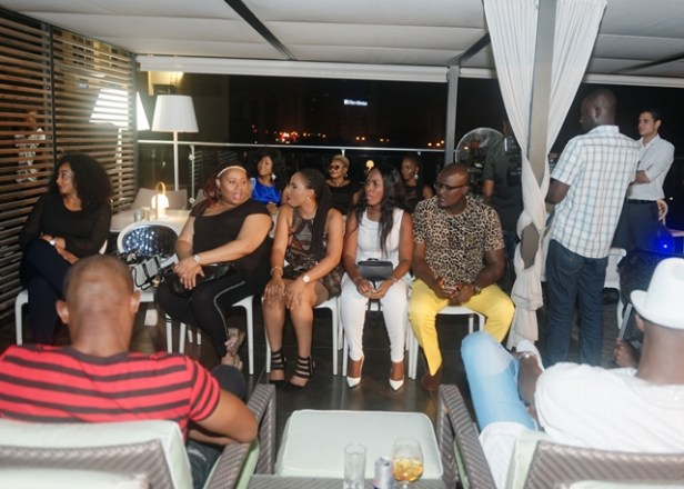 from right Gabby Ibeabuchi, Linda Ikeji, guest, Princess Uzo Ugoji (headband) and Anita Ifudu watch on at LoudNProudLive Luxury Edition