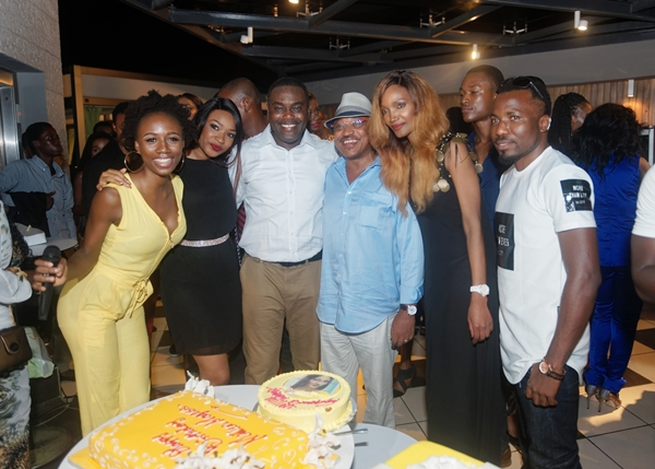 from right TV Producer Theo Ukpaa, Model Akuma David, Birthday lady Millen Magese, Phillip Trimnell, Designer Frank Osodi, Miss Earth Marie AT LOUDNPROUDLIVE LUXURY EDITION