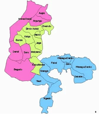 Map of Kebbi State with details