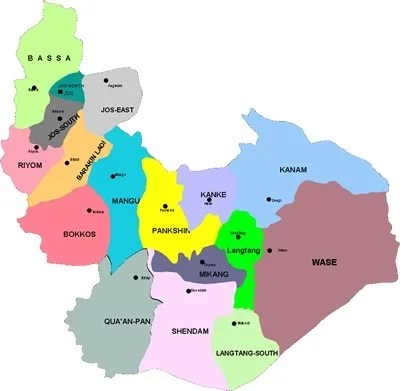 Map of Plateau State with details