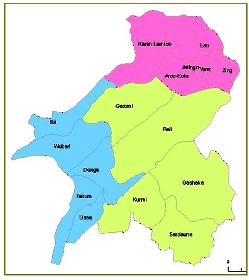 Map of Taraba State with details