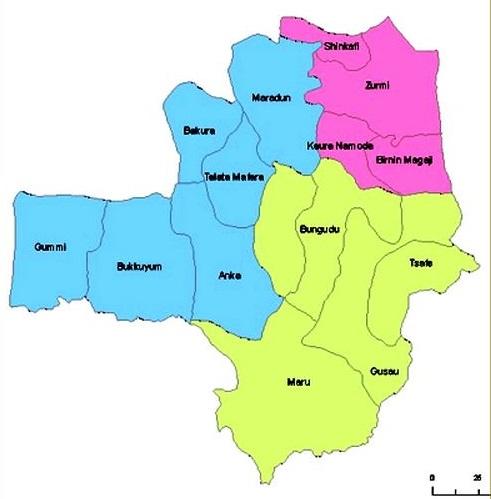 Map of Zamfara State with details